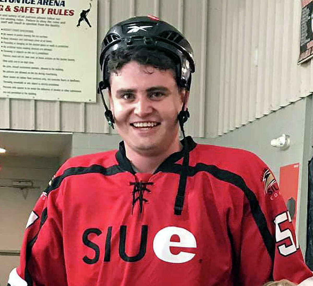 Alton High hockey coach Nick Boswell during his days as a player at SIUE. Boswell also played at Alton High.