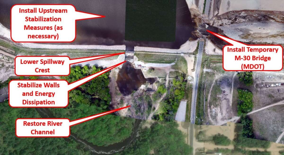 A map provided by the Michigan Department of Environment, Great Lakes and Energy (EGLE) shows the dangerous areas that residents should avoid during the Tobacco River spillway drawdown. (Photo provided/EGLE)