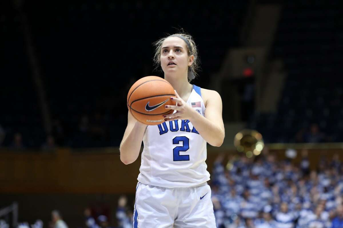 DURHAM, NC - NOVEMBER 30: Duke's Haley Gorecki during the Duke Blue Devils game versus the Ohio State Buckeyes on November 30, 2017, at Cameron Indoor Stadium in Durham, NC in a Division I women's college basketball game, and as part of the annual ACC-Big Ten Challenge. Duke won the game 69-60. (Photo by Andy Mead/YCJ/Icon Sportswire via Getty Images)