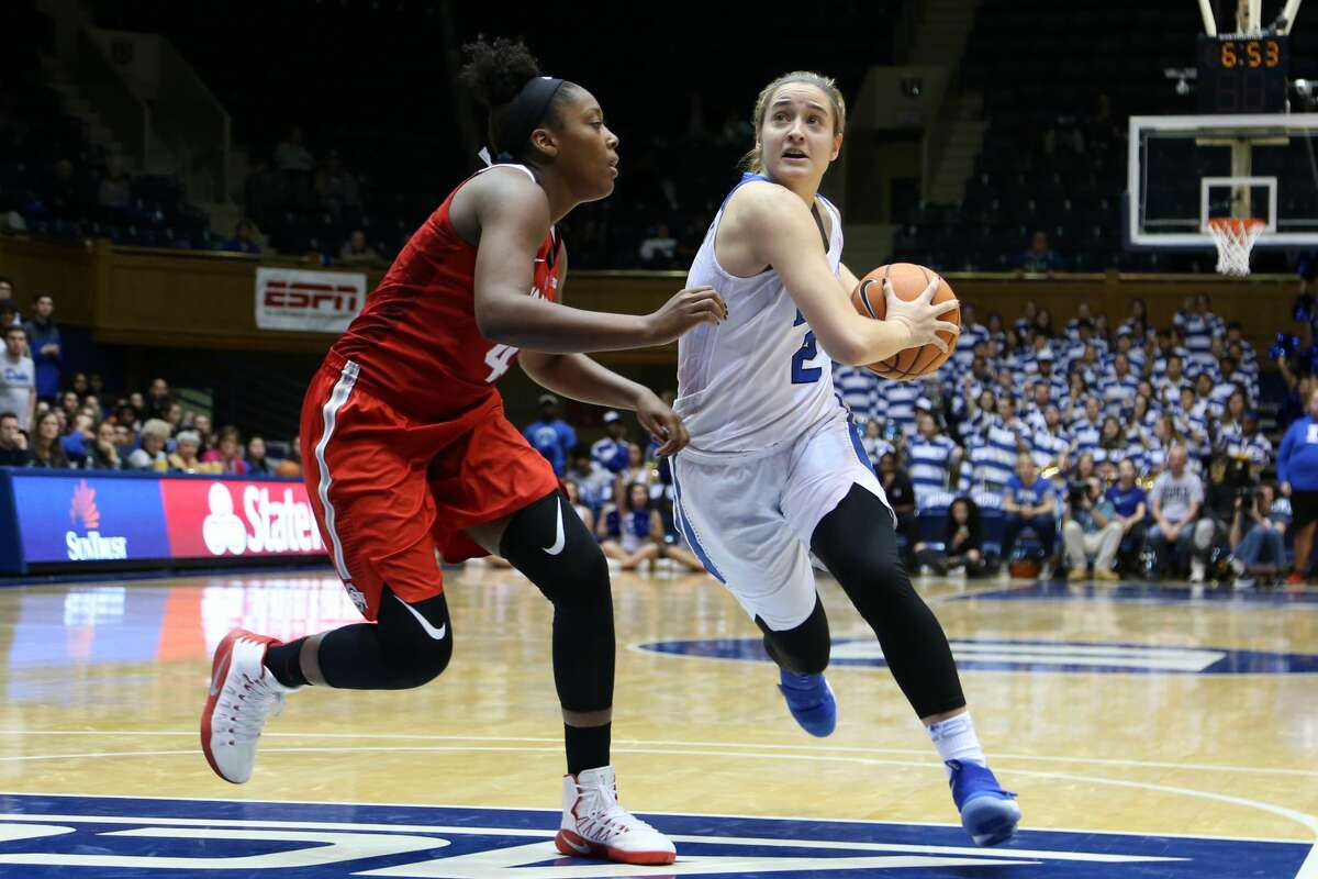 DURHAM, NC - NOVEMBER 30: Duke's Haley Gorecki (2) and Ohio State's Sierra Calhoun (4) during the Duke Blue Devils game versus the Ohio State Buckeyes on November 30, 2017, at Cameron Indoor Stadium in Durham, NC in a Division I women's college basketball game, and as part of the annual ACC-Big Ten Challenge. Duke won the game 69-60. (Photo by Andy Mead/YCJ/Icon Sportswire via Getty Images)