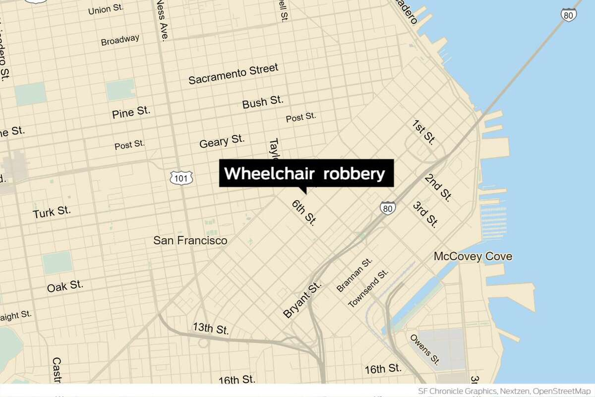 San Francisco police are searching for four suspects accused of stealing a 60-year-old man's electric wheelchair after knocking him to the ground, kicking and punching him and leaving him to crawl home.