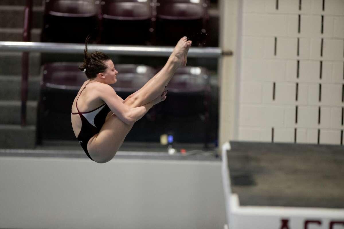 Lee grad and Texas A&M senior Charlye Campbell executes a dive. Photo courtesy of Texas A&MAthletics