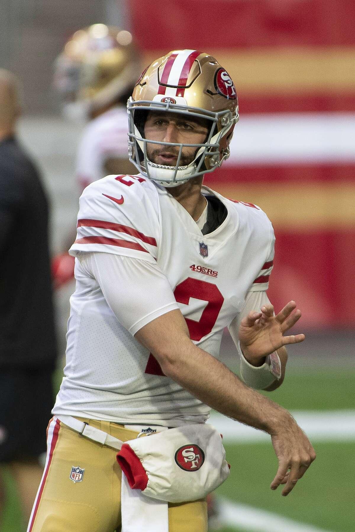 San Francisco 49ers quarterback Josh Rosen warms prior to the regular-season finale against the Seahawks. San Francisco is Rosen's fourth NFL team in three seasons.