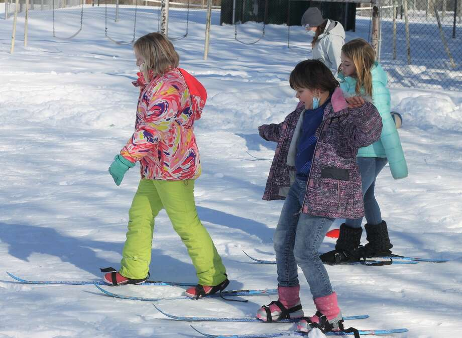 Elementary students at Bear Lake Schools enjoy cross-country ski lessons thanks to Crystal Mountain's Nordic Rocks program. Students went through drills, relay races and games to familiarize themselves with the sport. Photo: Kyle Kotecki/News Advocate
