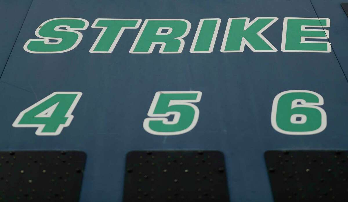 Detail of the scoreboard at College Park High School's baseball field, Thursday, May 21, 2020, in The Woodlands.