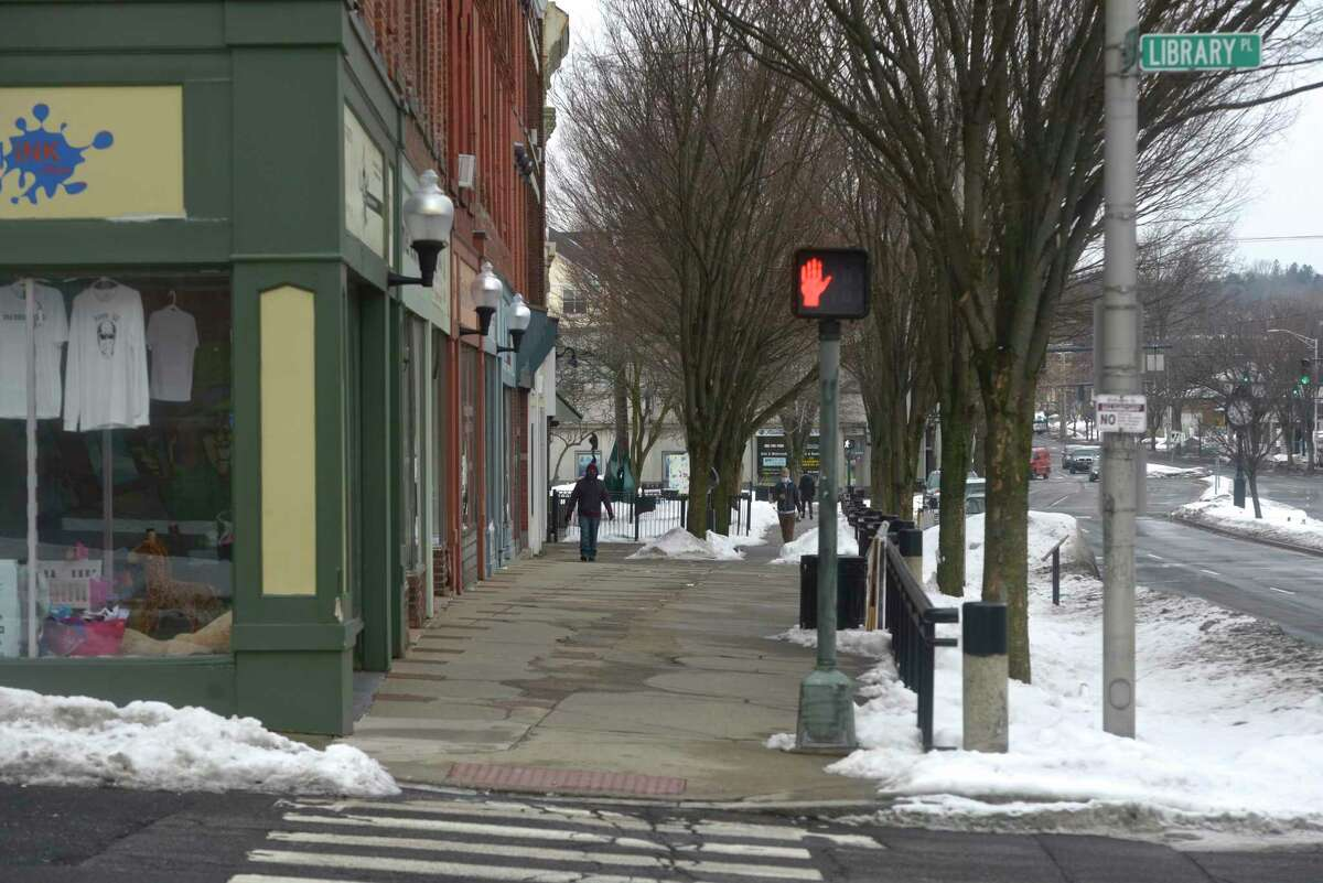 According to plans the west side of Main Street between Library Place and Elm Street will be an Art Quad, with stamped concrete sidewalk and new plantings when Danbury starts construction on its downtown streetscape project in the spring. Tuesday, February 23, 2021, in Danbury, Conn.