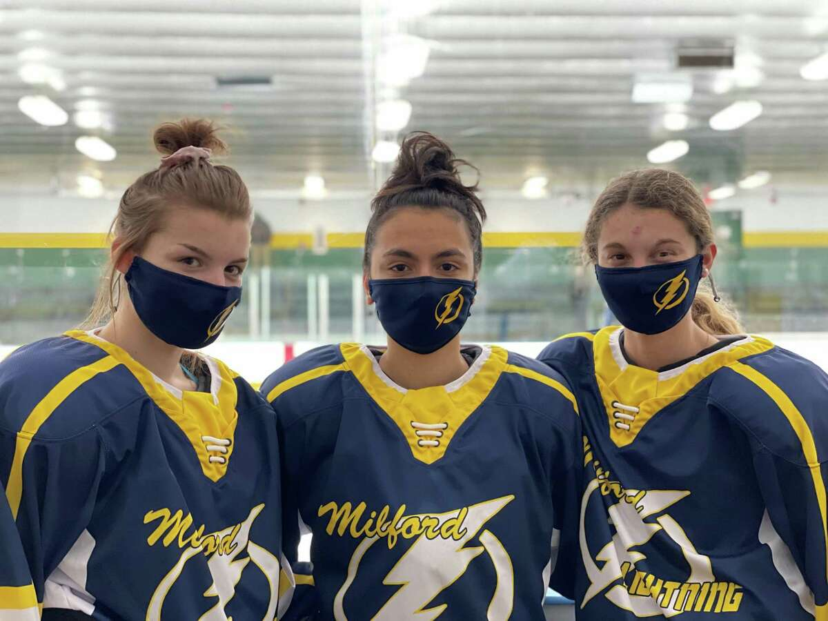 The Milford co-op girls' hockey team is led by assistant captain McKenzie Broderick, captain Rose Linkasamy and assistant captain Justina Holland.