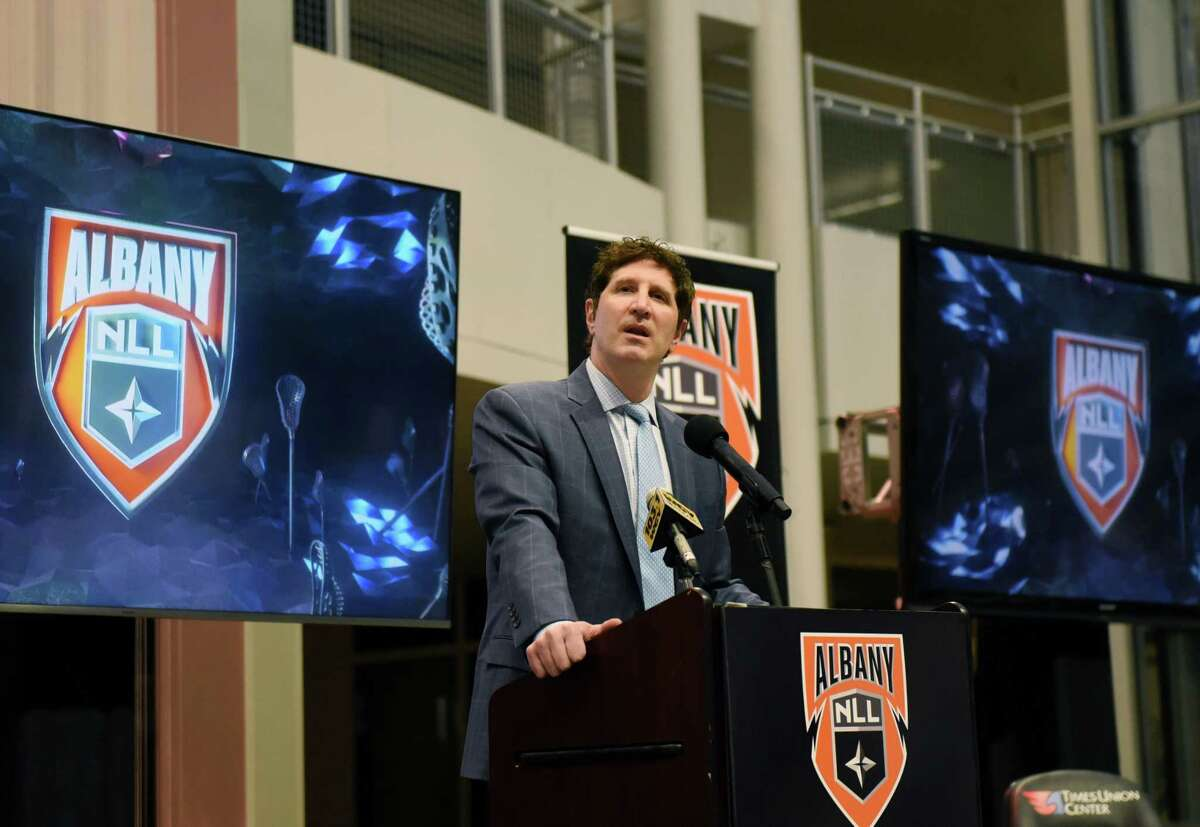 Albany National Lacrosse League partnership head Oliver Marti introduces his new franchise team on Tuesday, Feb. 23, 2021, during a press conference at the Times Union Center in Albany, N.Y. (Will Waldron/Times Union)