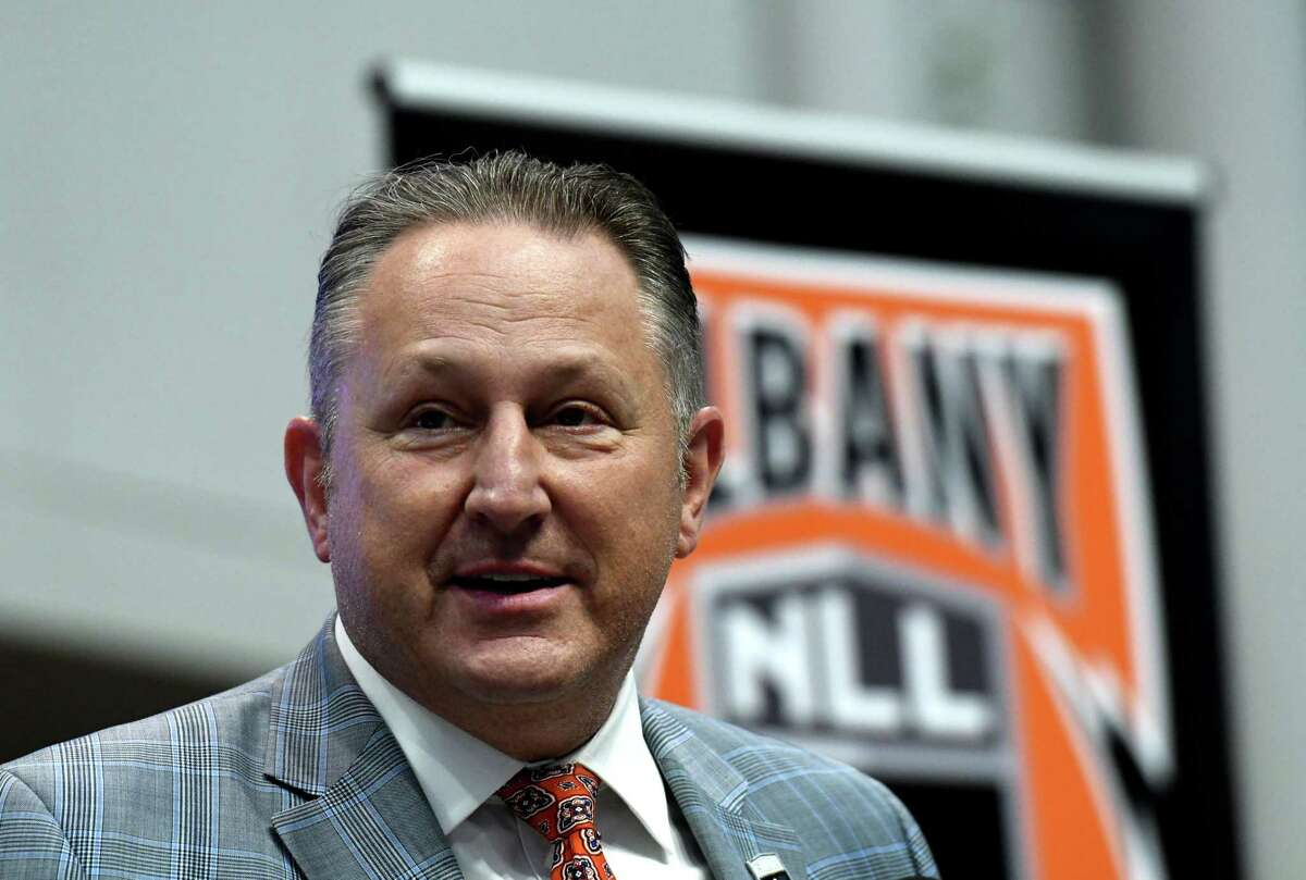 National Lacrosse League Commissioner Nick Sakiewicz introduces the new NLL Albany franchise team on Tuesday, Feb. 23, 2021, during a press conference at the Times Union Center in Albany, N.Y. (Will Waldron/Times Union)