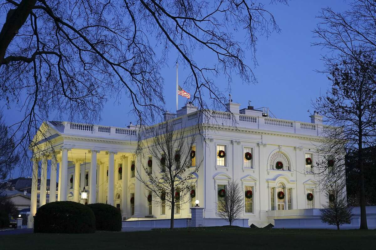 """Dusk settles over the White House in Washington. The Lincoln Project, whose ads attacked President Donald Trump, became perhaps the best known of the """"Never Trump"""" organizations last year."""