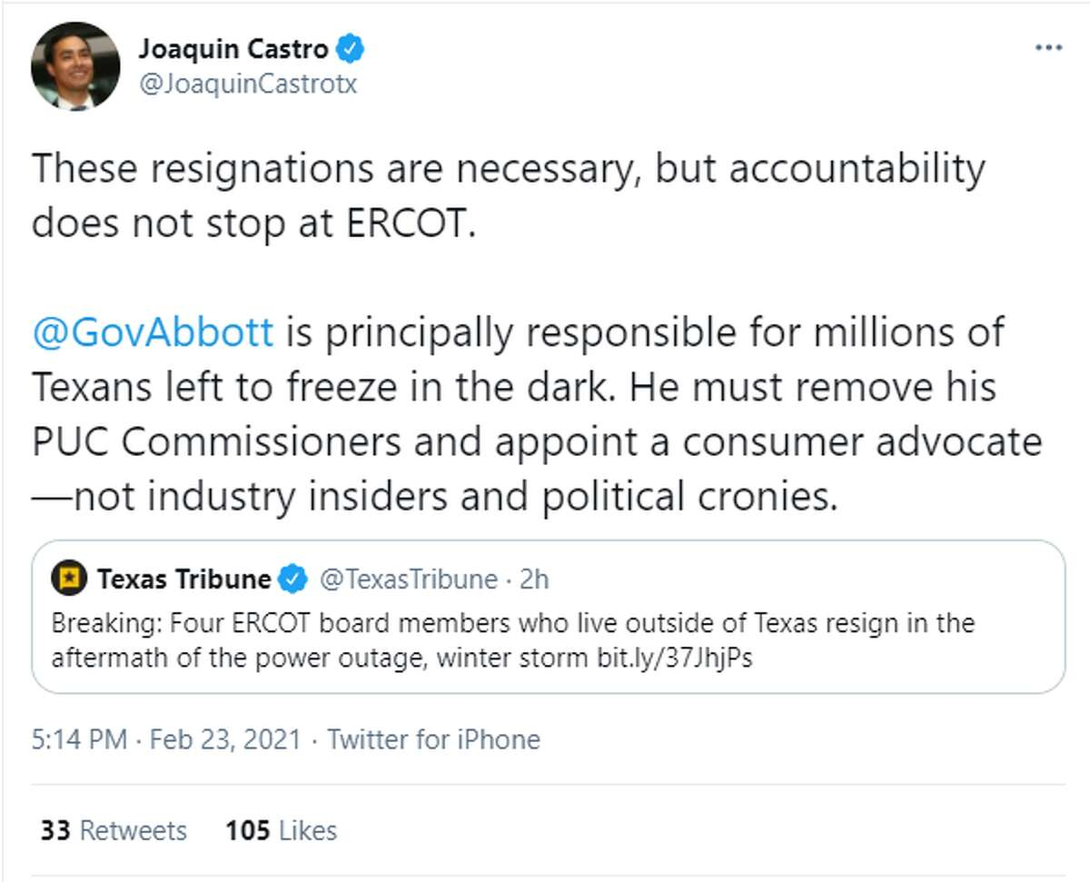 """@JoaquinCastrotx said, """" These resignations are necessary, but accountability does not stop at ERCOT. @GovAbbottis principally responsible for millions of Texans left to freeze in the dark. He must remove his PUC Commissioners and appoint a consumer advocate-not industry insiders and political cronies."""""""