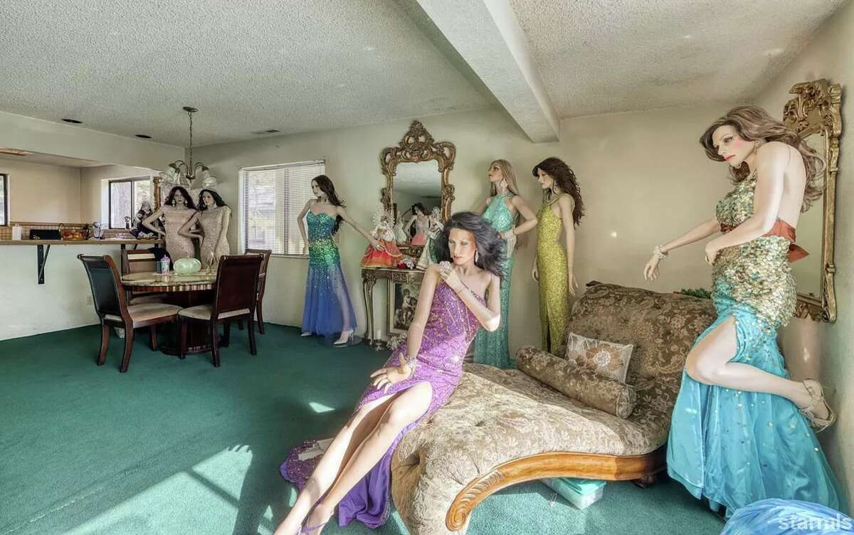 A mannequin cocktail party at a South Lake Tahoe duplex, as seen on Zillow.