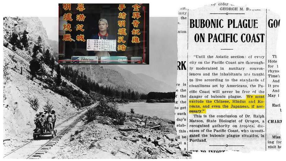 Left: Chinese migrant workers — here building the North Pacific Railway in the 1880s — faced Asian scapegoating over falling wages. Top: A restaurant worker in Chicago's Chinatown in 2003, when a fear of SARS led to a drop in revenue. Right: A news clipping from the Red Bluff Daily News in 1907, in which an Oregon health official argues for the exclusion of Asians to prevent the spread of plague. Photo: Laborers: Bettmann Archive / Getty Images; Chicago Chinatown: Scott Olson / Getty Images; News Clipping: California Digital Newspaper Collection