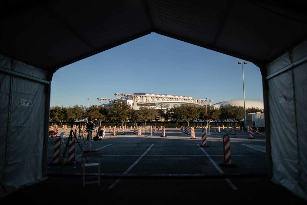 View of the NRG Stadium from the one of the tents at the federally-supported and state-managed COVID-19 vaccination clinic, Monday, Feb. 22, 2021, in Houston.