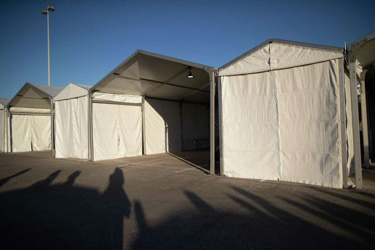 New federally-supported and state-managed COVID-19 vaccination clinic tents at NRG Park, Monday, Feb. 22, 2021, in Houston. The mass vaccination center will be able to vaccinate as mas as 6,000 people a day.