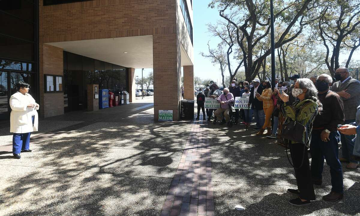 Robin Mouton supporters gather outside City Hall where she announced her candidacy for Mayor of Beaumont before Tuesday's City Council meeting. Photo made Tuesday, February 23, 2021 Kim Brent/The Enterprise