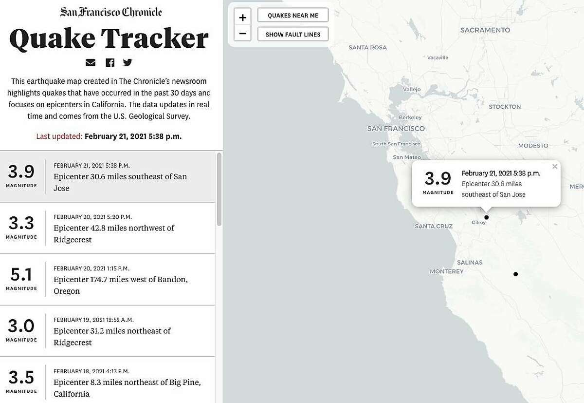 The Chronicle's Quake Tracker shows a 3.9-magnitude earthquake that struck Feb. 21, 2021, near Gilroy.