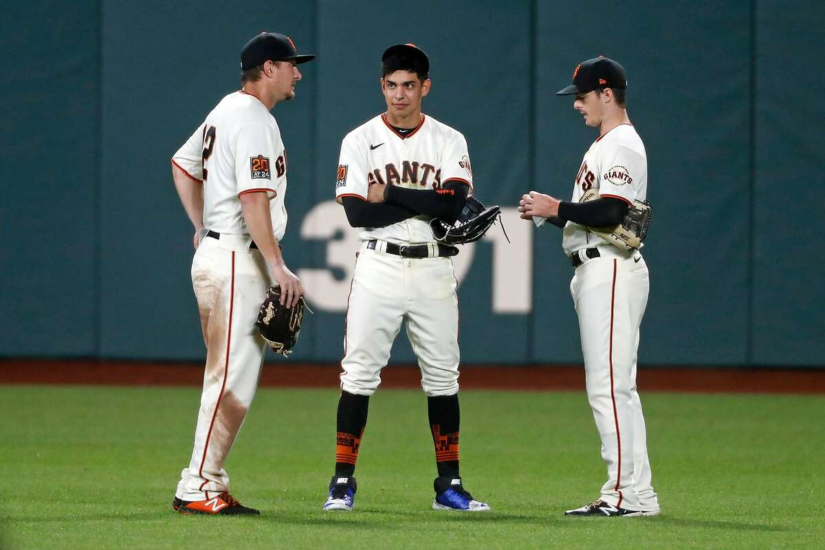 Against right-handed starters, the Giants could have an outfield of (from left) left fielder Alex Dickerson, center fielder Mauricio Dubón and right fielder Mike Yastrzemski.