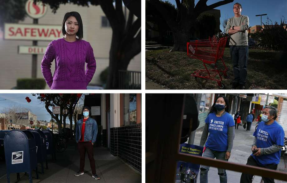 """Top left: Judy Lee, who works with the San Francisco Office of Economic and Workforce Development, said she was told """"No more returns for you next time, Chinese lady,"""" and was the target of a racial slur when she was shopping. Top right: Writer Wylie Wong of San Jose stands outside a shopping center where he heard a racist comment from another shopper blaming Chinese people for the coronavirus. Bottom right: United Peace Collaborative co-founders Leanna Louie (left) and Robert Low walk on Jackson Street to meet with UPC members to go out on patrol in Chinatown in San Francisco. Bottom left: Kyle Navarro, San Francisco Unified School District school nurse, stands near a post office where he said a man spat in his direction and yelled a racial slur when he was locking up his bicycle in San Francisco. Photo: Lea Suzuki / The Chronicle"""