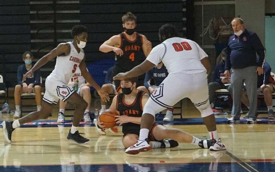 The Big Rapids boys' basketball team defeated Grant at home on Tuesday night. Photo: Pioneer Photos/Joe Judd