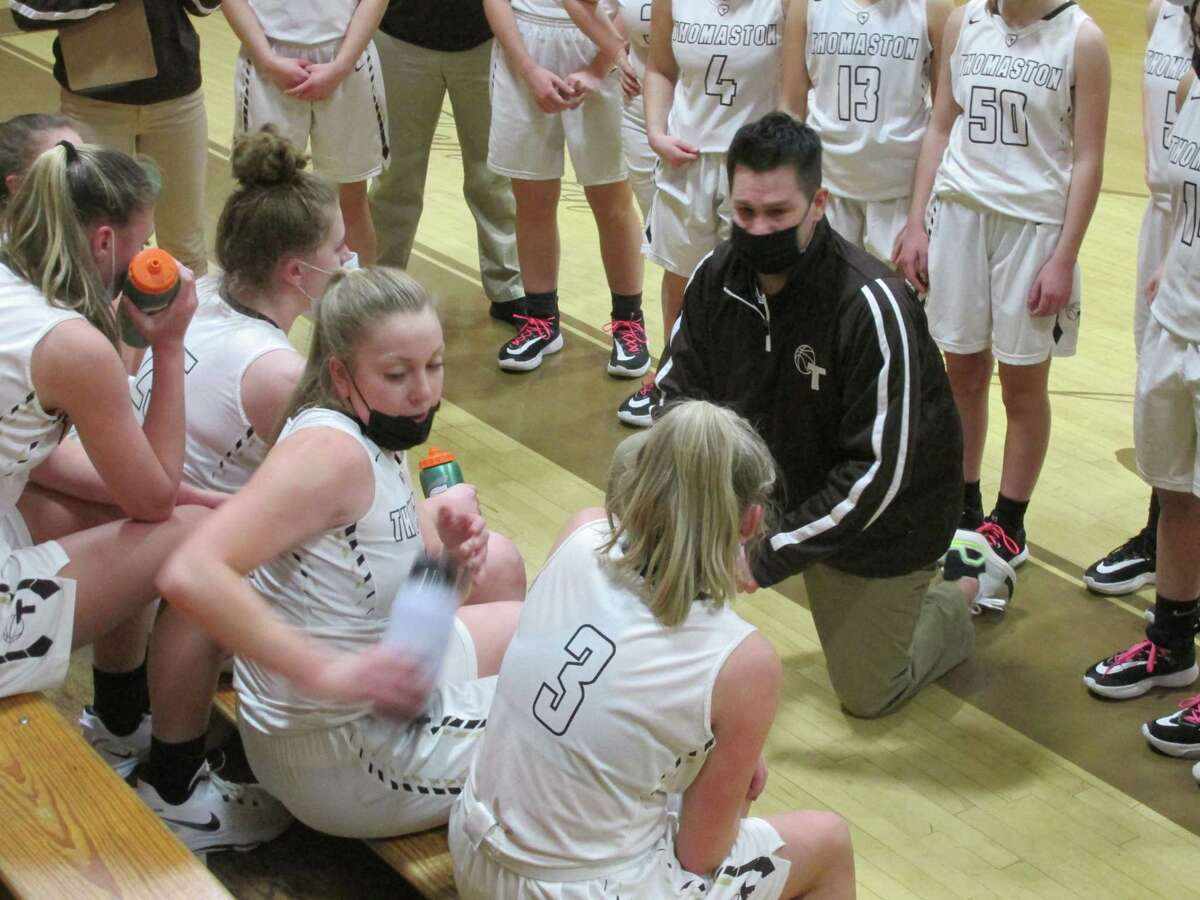 Thomaston coach Bob McMahon reminds his team that defense leads to offense in a big win over Shepaug Tuesday night at Thomaston High School.