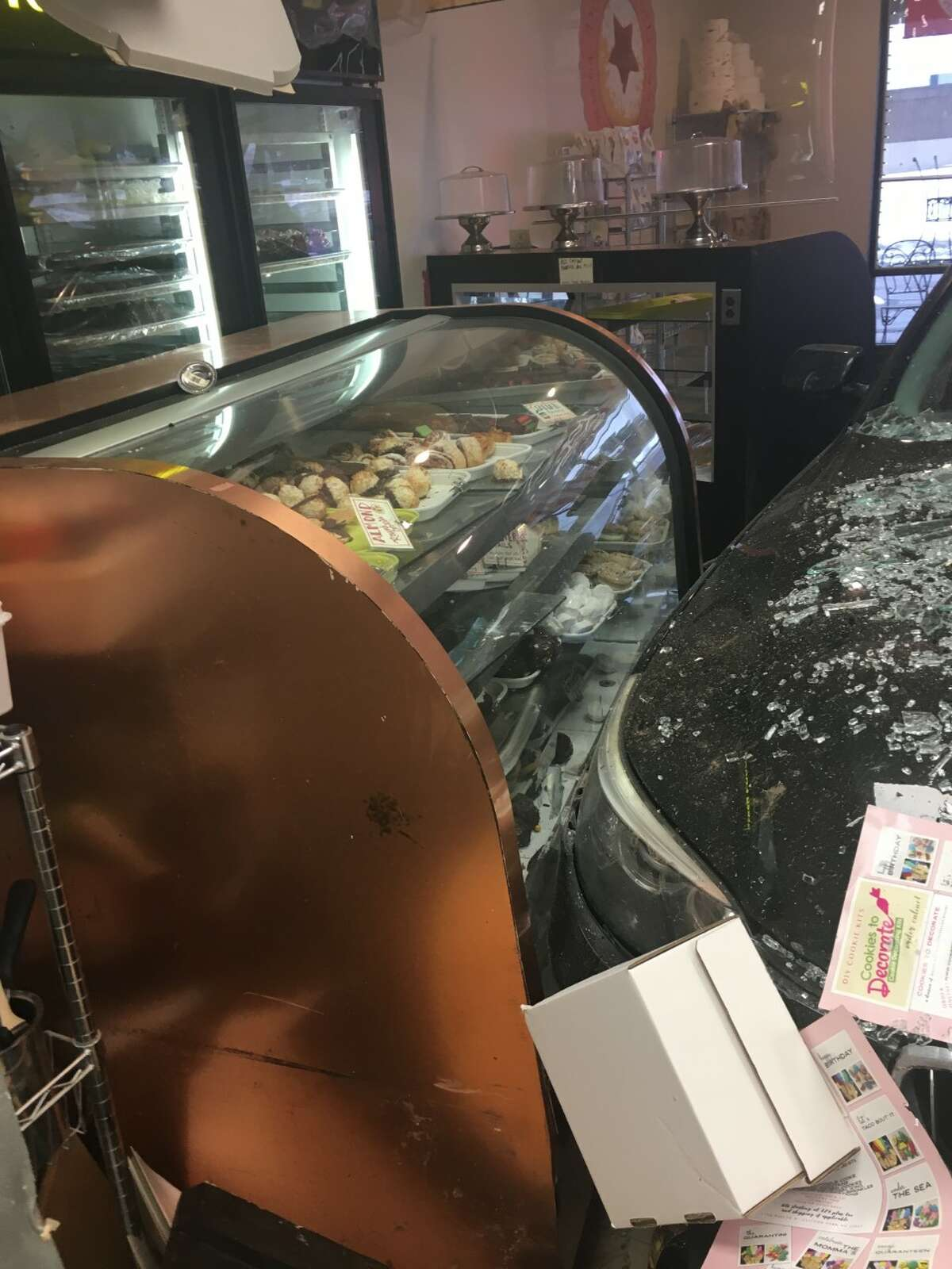 A car drove through the front window of Dolce and Biscotti bakery in Clifton Park on Tuesday, Feb. 23, 2021.
