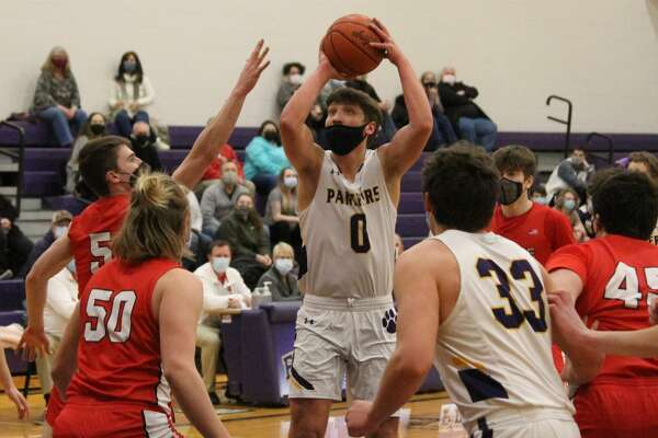 Frankfort defeats Benzie Central 57-44 in varsity boys basketball on Feb. 23.