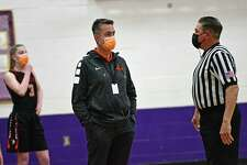 Cambridge head coach Bob Phillips talks to a referee during a basketball game against Duanesburg on Tuesday, Feb. 23, 2021 in Delanson, N.Y. (Lori Van Buren/Times Union)