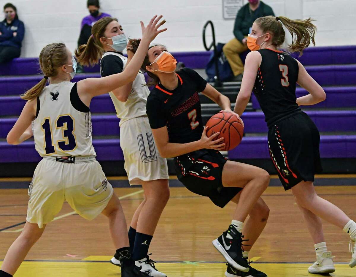 Cambridge's Sophie Phillips drives to the hoop during a basketball game against Duanesburg on Tuesday, Feb. 23, 2021 in Delanson, N.Y. (Lori Van Buren/Times Union)