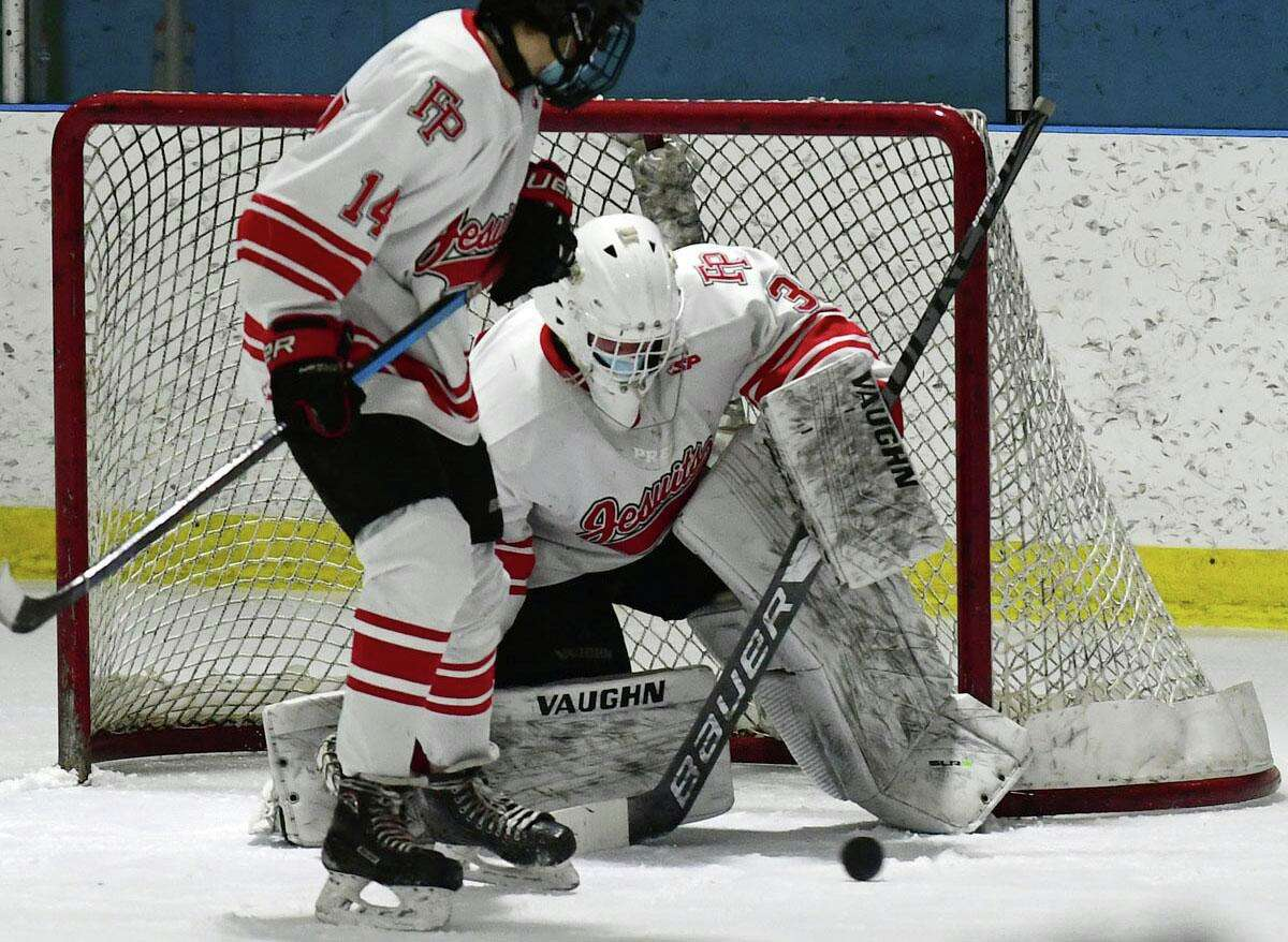 Goalie #35 Thomas Martin defends No. 1 Notre Dame West Haven takes on No. 3 Fairfield Prep. Saturday, February 20, 2021, at Winterland Ice Rink in Bridgeport, Conn.