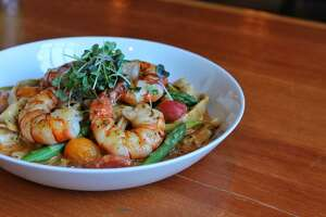 Shrimp fettuccine is part of the comfort-based, gluten-free menu at Black Rock Social House, set to open in Bridgeport March 15.