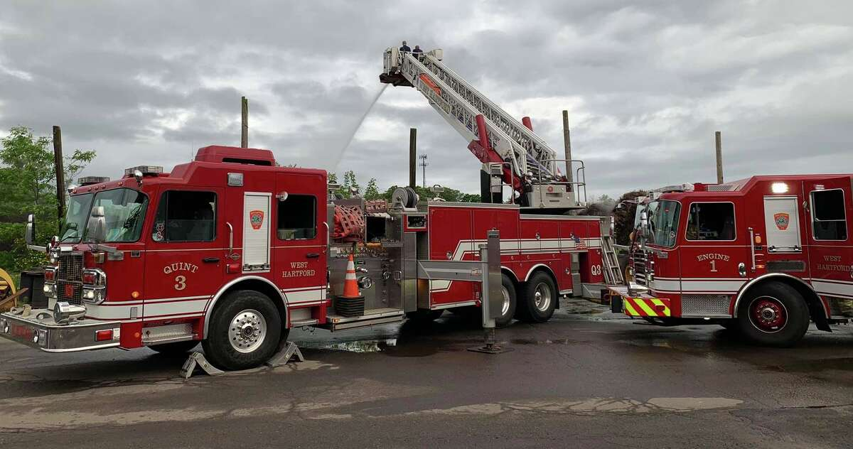 A file photo of West Hartford, Conn., fire engines.