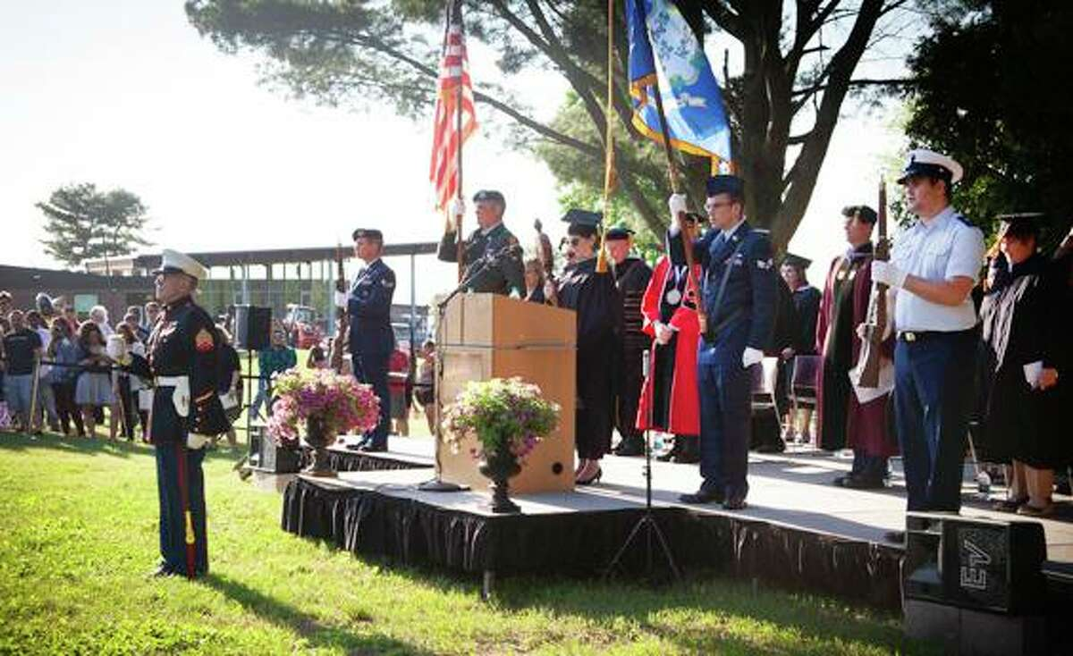Middlesex Community College was recently awarded the 2021-22 Silver Level Military Friendly School designation. Shown here are graduates of the program during a ceremony in 2018.