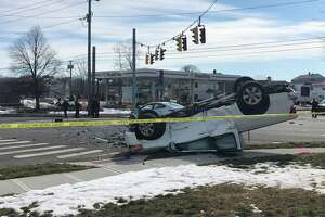 A crash at the intersection of Tunxis Hill Road and Villa Avenue in Fairfield, Conn., on Wednesday, Feb. 24, 2021.