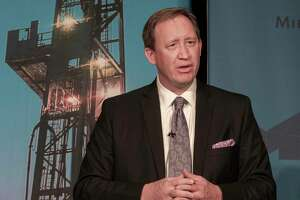 Lance Robertson, CEO of Endeavor Energy Resources, speaks 02/24/2021 at the 2021 State of Oil and Gas luncheon at the Bush Convention Center. Tim Fischer/Reporter-Telegram