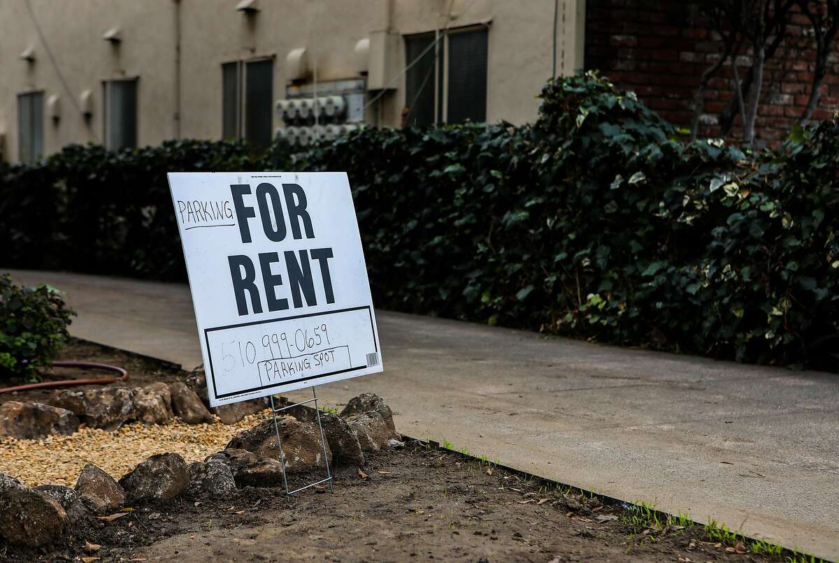 A sign advertises an apartment for rent at 377 Belmont St. in the Adams Point neighborhood on Tuesday, January 12, 2021, in Oakland, Calif.