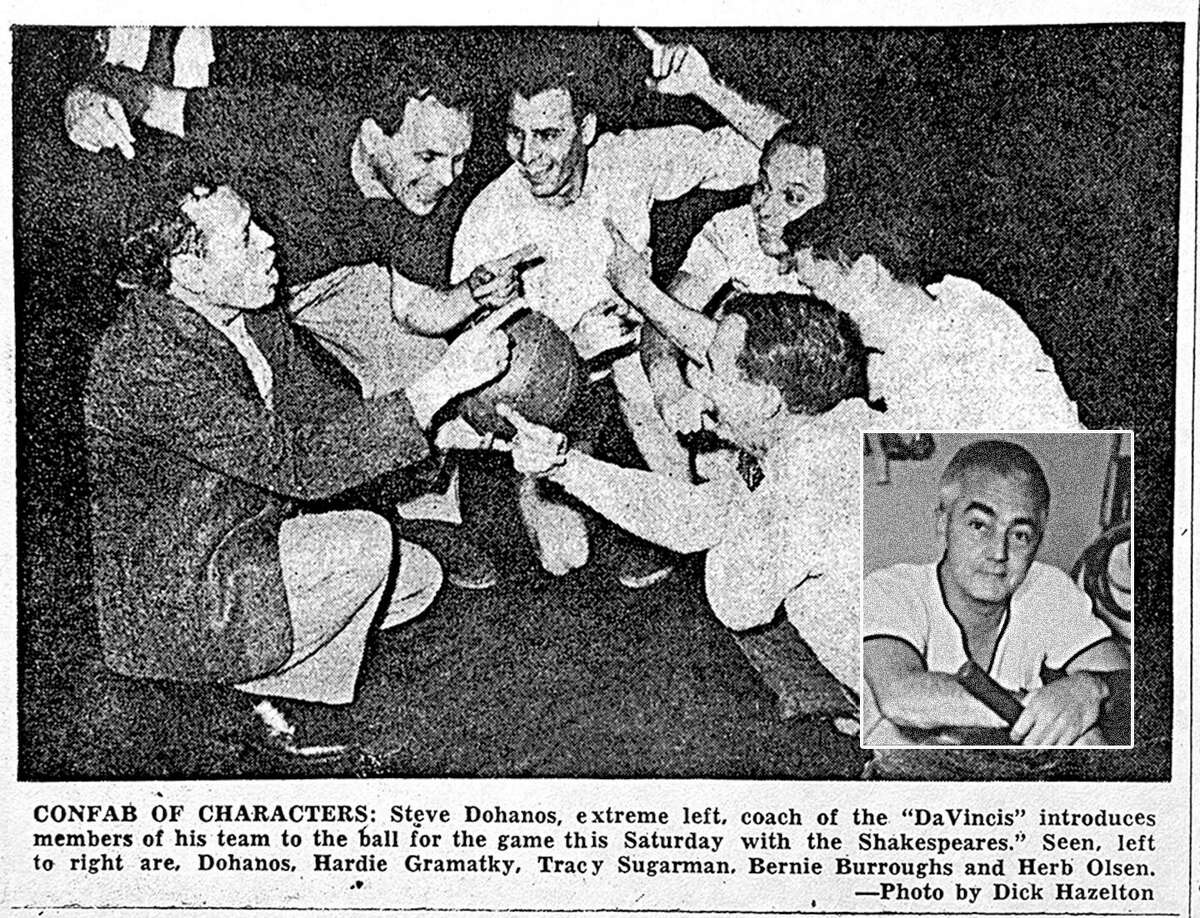 In a news photo from 1953, Hardie Gramatky & Tracy Sugarman (second and third from left), Howard Munce, lower right inset photo.