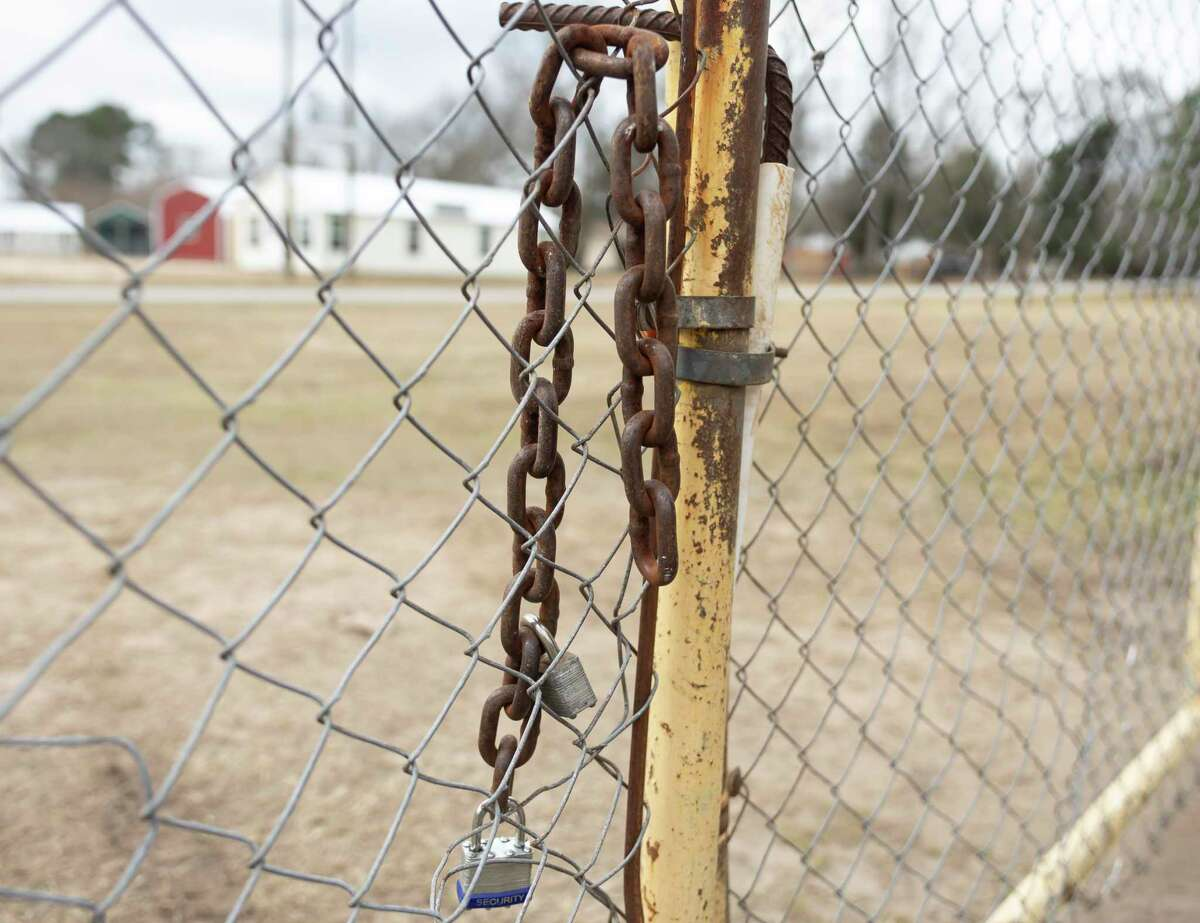 As seen, a lock was forced open into a shack at the Dream Center after a suspected burglary took place the night before, Wednesday, Feb. 24, 2021, in Splendora. The organization planned to distribute juices and water to the elderly in the community until suspected burglars stole the supply.