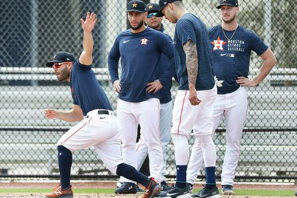 Houston Astros second baseman Jose Altuve (27) runs the bases during the third day of full-squad workouts for the Astros at Ballpark of the Palm Beaches in West Palm Beach, Florida, Wednesday, February 24, 2021.