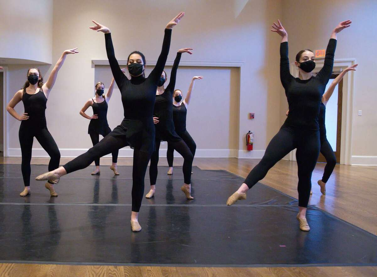 """Studio D's Winter Show opened with Gina Silva's Advanced Jazz class dancing to """"Another Day of Sun"""" from the movie La La Land. From left: Sarah Rondini, Katie Bouzakis, Madigan Sotelo, Lindsey Federowicz, Abby LaPoint and Rachael Tomanelli."""