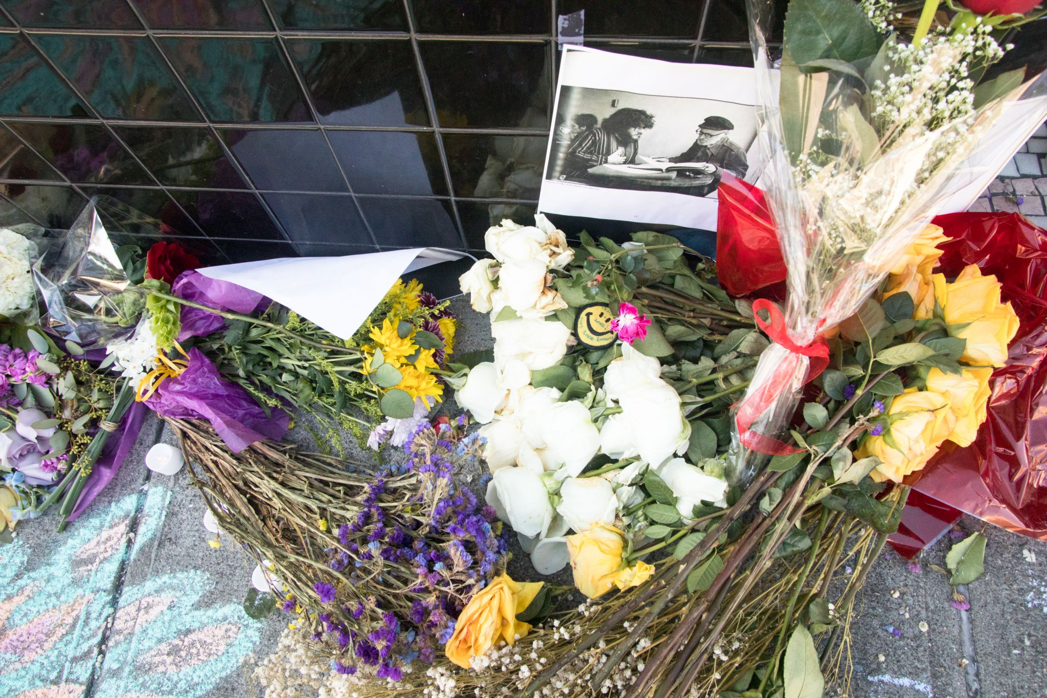 An impromptu memorial in honor of Lawrence Ferlinghetti appeared overnight in front of the City Lights bookstore in San Francisco on Feb. 24, 2021.