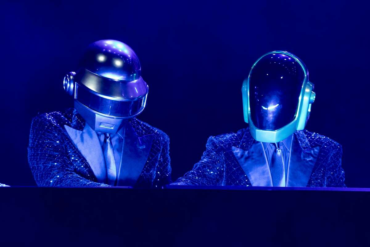 French musical group Daft Punk during the concert for the 20 years of Lo Zoo di 105 at the Hippodrome. Milan (Italy), July 8th, 2019 (Photo by Marco Piraccini/Archivio Marco Piraccini/Mondadori via Getty Images)