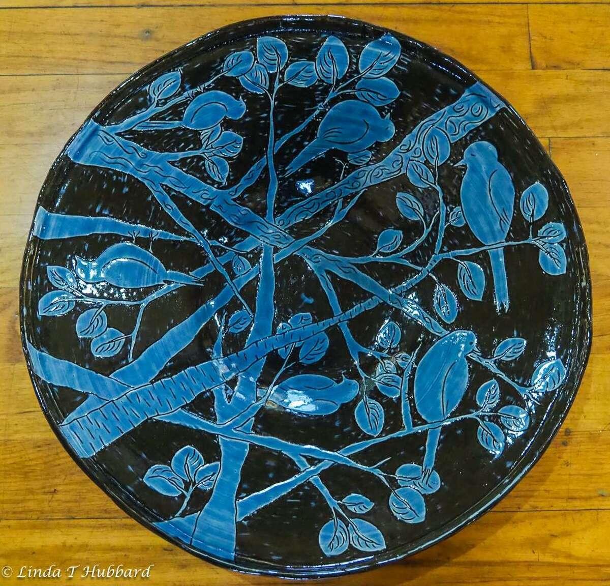Blue Bird Bowl, pottery by Roberta Ahuja.
