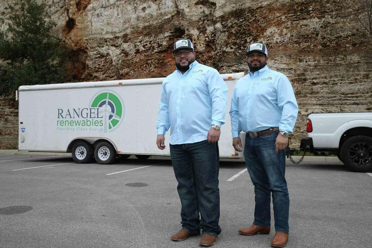 Brothers Josh Rangel, left, and Moses Rangel run Rangel Renewables, a wind-based energy company.