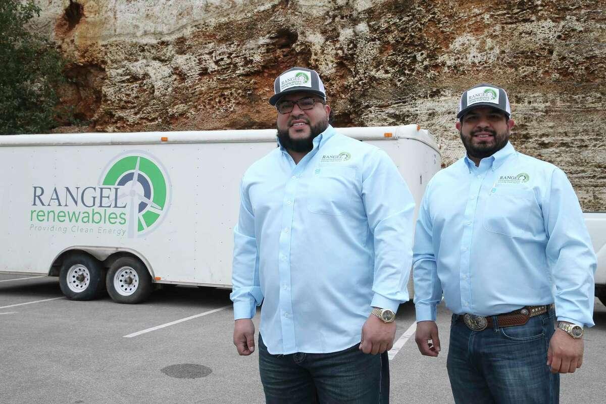 Brothers, Josh Rangel, left, and Moses Rangel run Rangel Renewable, Friday, Feb. 12, 2021. It is a wind-based energy company.