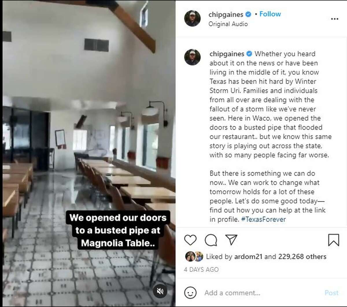 Chip and Joanna Gaines Magnolia Table restaurant suffered water damage from ruptured pipes during Winter Storm Uri, shown in Chip Gaines' Instagram video.