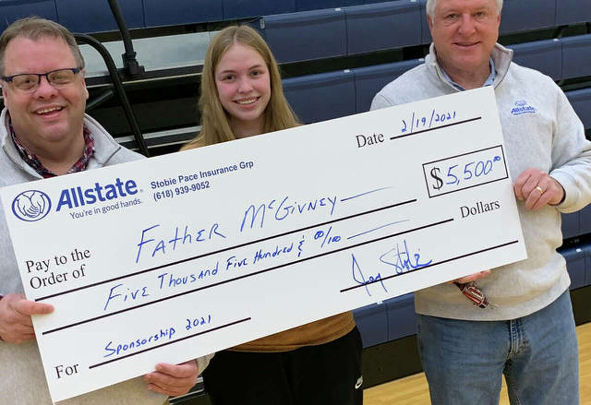 Stobie Pace Insurance Group provides Father McGivney Catholic High School with $5,500 in grant money through the Allstate Foundation, in which the school used to purchase a new camera system.