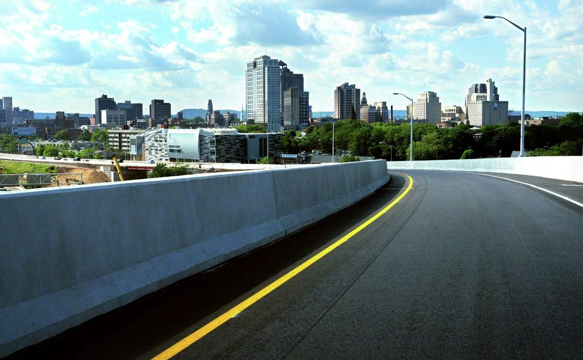 The New Haven skyline comes into view going over the Rt. 34 flyover ramp on 6/6/2011. Photo by Arnold Gold/New Haven Register AG0413E