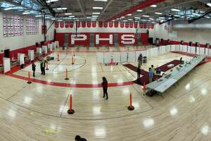 Pomperaug High gym used as a COVID-19 vaccination clinic in Southbury