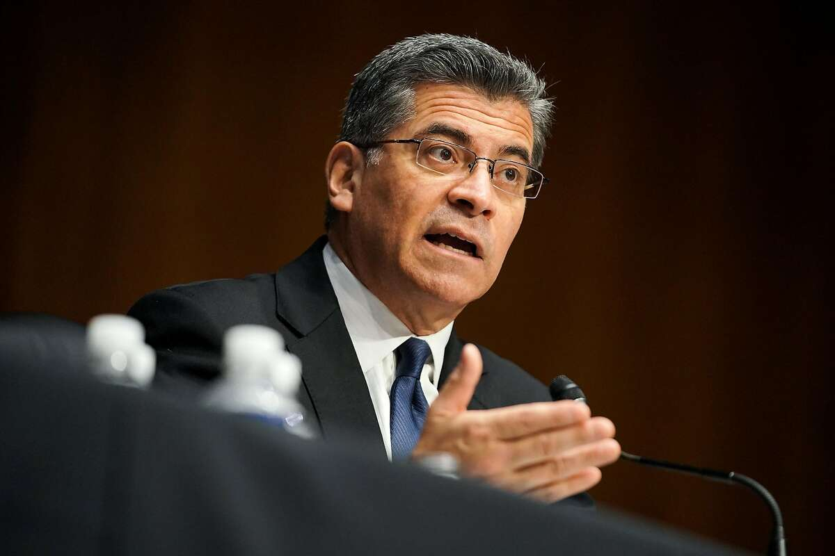 California Attorney General Xavier Becerra, nominee for secretary of health and human services, answers questions during his confirmation hearing before the Senate Finance Committee on Wednesday.